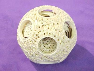 Pierced Ivory Puzzle Ball
