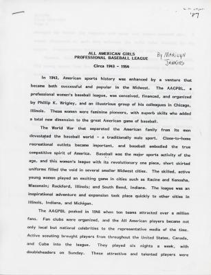 Essay, All-American Girls Baseball League Archival Collection #66