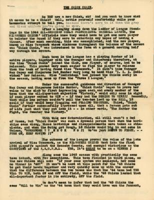 """Letter, """"The Chicks Chain"""" All-American Girls Baseball League Archival Collection #66"""