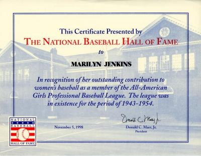 Certificate, National Baseball Hall of Fame, All-American Girls Baseball League Archival Collection #66