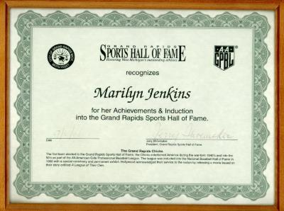 Certificate, Sports Hall of Fame, All-American Girls Baseball League Archival Collection #66
