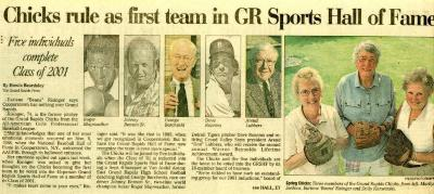 """""""Chicks Inducted into the Grand Rapids Sports Hall of Fame"""", All-American Girls Baseball League Archival Collection #66"""