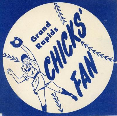 Sticker, Grand Rapids Chicks, All-American Girls Baseball League Archival Collection #66
