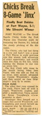 Newspaper Clippings, All-American Girls Baseball League Archival Collection #66