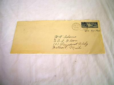 Air Mail Postal Cover From The First Us Air Mail Flight