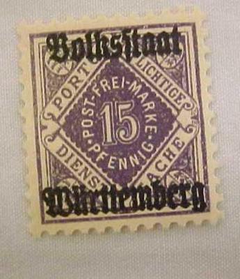 Overprint, German Stamp With Wurttemberg , 15 Pfennig