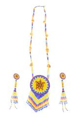 Beaded Rosette Necklace And Earrings