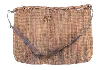 Small Woven Bark Bag With Rawhide Strap