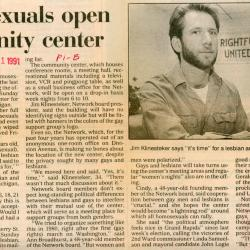 "Grand Rapids Press Article, ""Homosexuals open community center"""