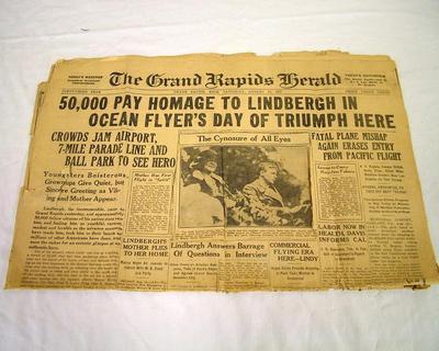 Newspaper, Grand Rapids Herald, August 13, 1927, Charles Lindbergh
