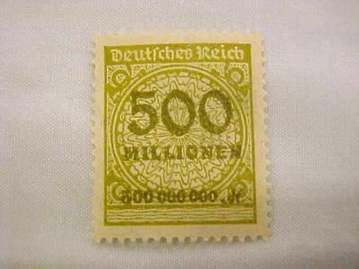 Postage Stamp, Overprint, German, 1923 Inflation, 500 Millionen, Deutsches Reich