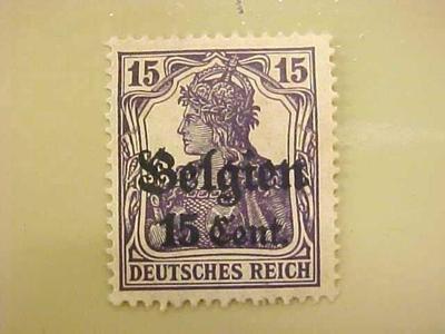 Postage Stamp, Occupation Of Belgium During Wwi, 15 Cent, Deutsches Reich
