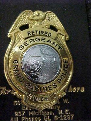 Retired Police Sergeant Badge, Charles P. Skuzinski, Grand Rapids Police Dept., Grand Rapids Polish American Archival Collection #127