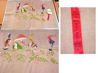 Polish Handicraft Textile Embroidery, Union High School, 1938, Grand Rapids Polish American Archival Collection #127
