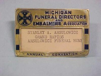 Pin, Michigan Funeral Directors And Embalmers Association, John Arsulowicz, Jr. Archival Collection #135