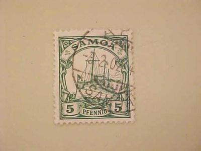 Postage Stamp, Kaiser's Yacht Hohenzollern, German Samoa, 5 Pfennig