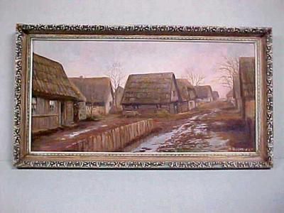 Oil Painting,  Village Of Nowy Dwor, Poland, John Arsulowicz, Jr. Archival Collection #135