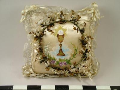 1st Communion Pillow And Hair Wreath, From Inside Shadowbox, John Arsulowicz, Jr. Archival Collection #135