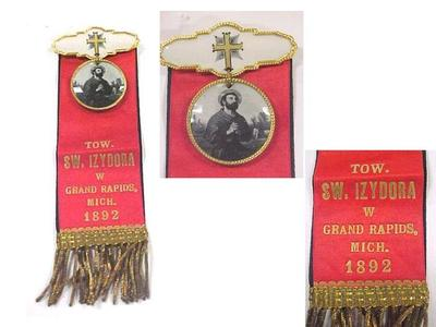 St. Izydora (isidore) Of Grand Rapids, Mich. 1892, Ribbon Badge Pins, 2, Polish American Archival Collection #127