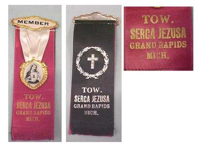 Tow. Serca Jezusa (in Polish) Ribbon Badge Pins, 2, Grand Rapids, Michigan, Polish American Archival Collection #127