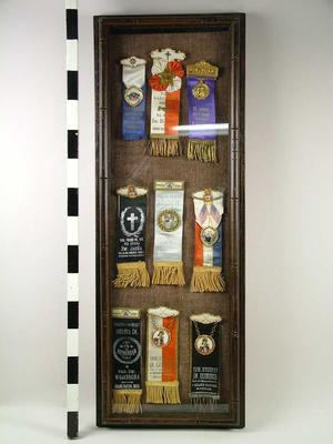 Framed Display Of Polish Fraternal Ribbons, Grand Rapids Polish American Archival Collection #127