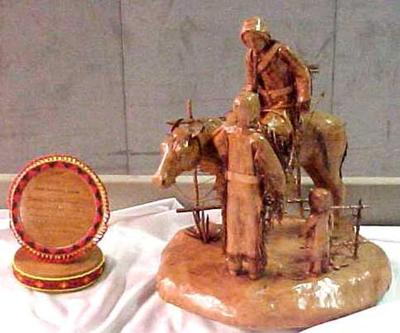 Leather Sculpture, Lakota Sioux Family And Beaded Label