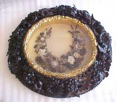 Picture, Hair Wreath, Leather Floral Frame