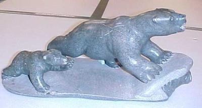 Inuit Sculpture, Two Bears And A Walrus