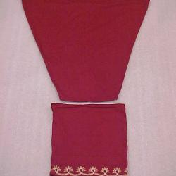 Al-amira Style Hijab Or Ladies' Islamic Head Covering, 2 Pieces, Cranberry Red With Embroidery