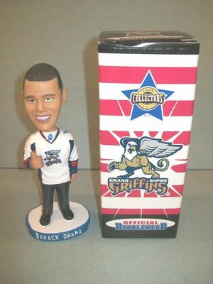 Bobblehead And Box, Barack Obama, Grand Rapids Griffins Hockey, 2008