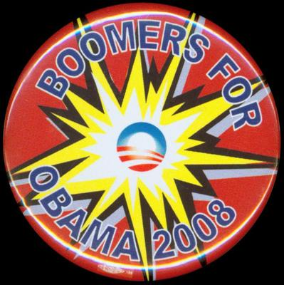 """Pin-back Button, Boomers For Obama 2008"""""""