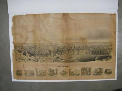 Lithograph, View Of The City Of Grand Rapids, Michigan In 1860