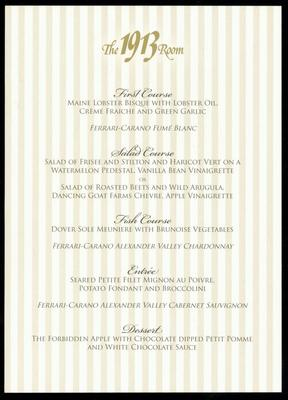 Program And Menu, The Last Dinner At The 1913 Room