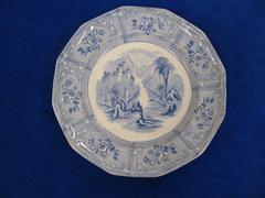 Dinner Plate, Light Blue, 'Ontario Lake Scenery Design'