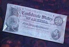 Confederate $500.00 Bill, 1864