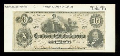 Confederate Currency, Ten Dollar Note