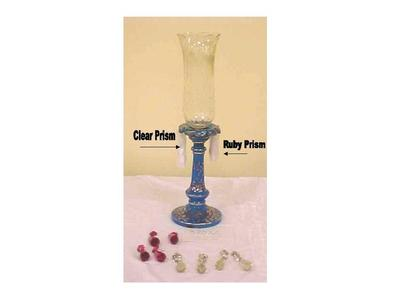 Candleholder, Blue Glass With 5 Clear And 5 Ruby Prisms And Clear Globe