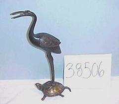 Japanese Brass Sculpture, Crane And Tortoise