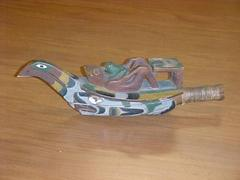 Carved And Painted 'raven Dance' Rattle, Boat With Frog