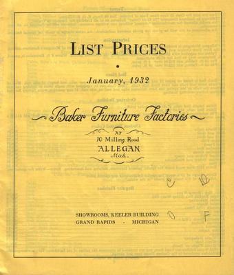 Price List, Baker Furniture Factories List Prices