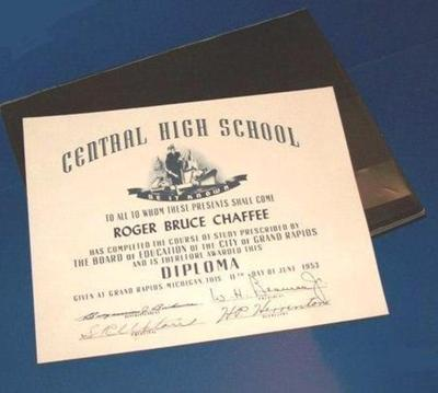 High School Diploma From Central High School 1953, Original In Bi-fold Case Under The Repro. Diploma Which Is Prominently Pictured, Roger B. Chaffee Archive Collection #6