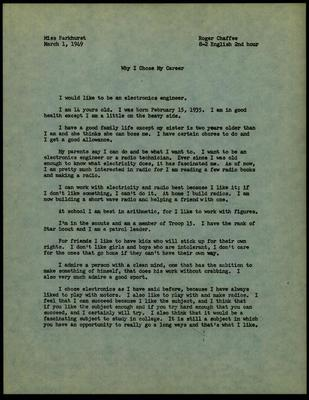 Roger B. Chaffee Essay, Archive Collection #6