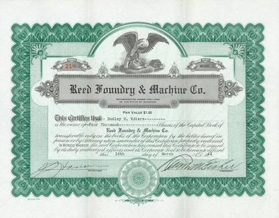 Stock Certificate, Reed Foundry And Machine Company