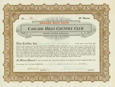 Stock Certificate, Cascade Hills Country Club