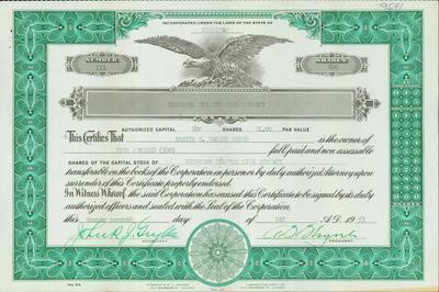Stock Certificate, Michigan Plastic Pipe Company