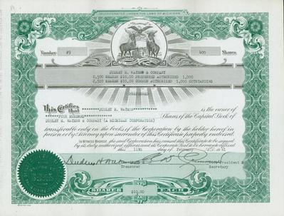 Stock Certificate, Dudley H. Waters And Company