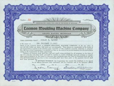 Stock Certificate, Leemon Moulding Machine Company