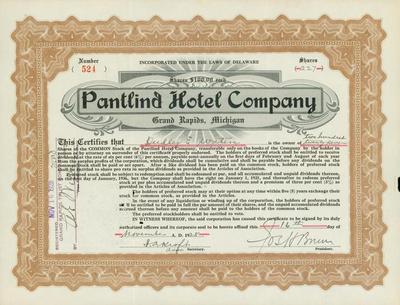 Stock Certificate, Pantlind Hotel Company