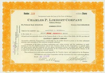 Stock Certificate, Charles P. Limbert Company
