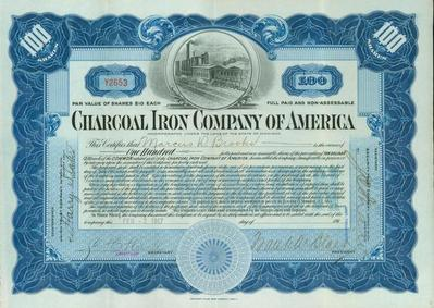 Stock Certificate, Charcoal Iron Company Of America